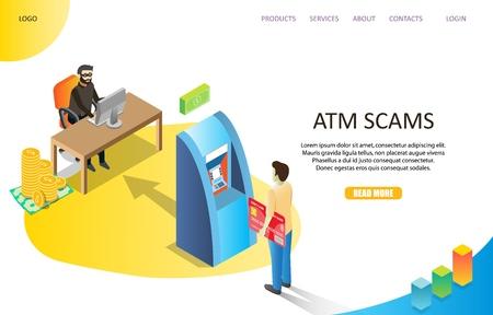 Modello di vettore del sito Web della pagina di destinazione delle truffe ATM Vettoriali