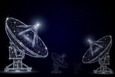 Telecommunication technology vector polygonal art style illustration Ilustrace