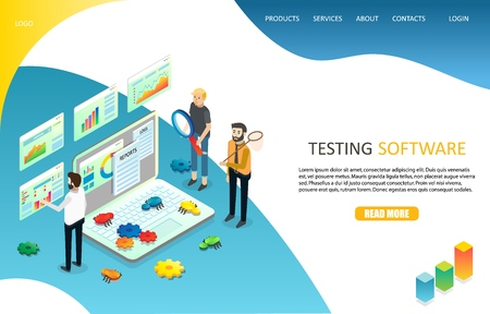 Testing software landing page website vector template