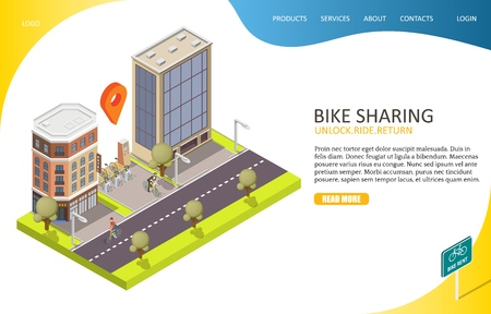 Bike sharing landing page website vector template Illustration