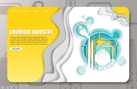 Vector paper cut chemical industry landing page website template