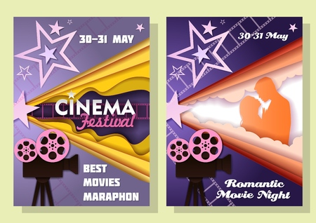 Vector cinema festival posters in paper art style