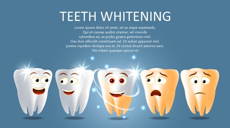 Teeth whitening vector poster or banner template