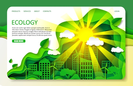 Vector paper cut ecology landing page website template