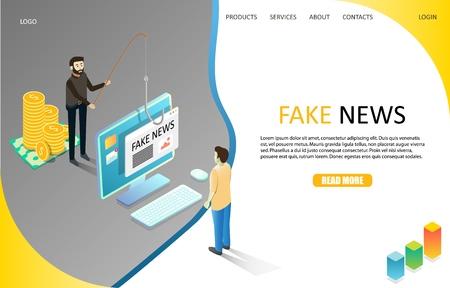 Fake news landing page website vector template Illustration