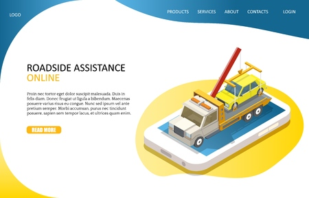 Online roadside assistance landing page website vector template  イラスト・ベクター素材