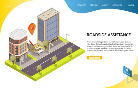 Roadside assistance landing page website vector template