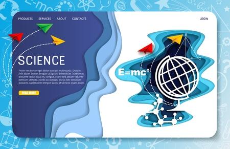 Vector paper cut science landing page website template