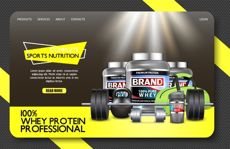 Sports nutrition landing page website vector template