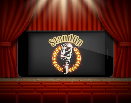 Standup online poster banner template. Vector illustration of red theater stage and mobile phone with stand-up comedy show sign on screen.