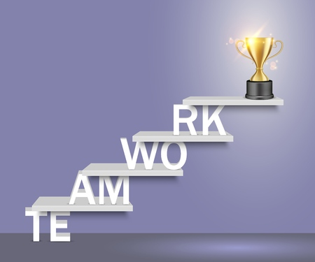 Teamwork word ladder with trophy award cup on top. Vector realistic illustration. Business team success concept for web, poster, banner.  イラスト・ベクター素材