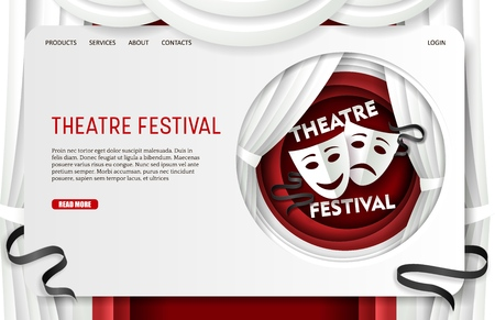 Vector paper cut theatre festival landing page website template