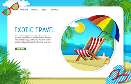 Vector paper cut exotic travel landing page website template