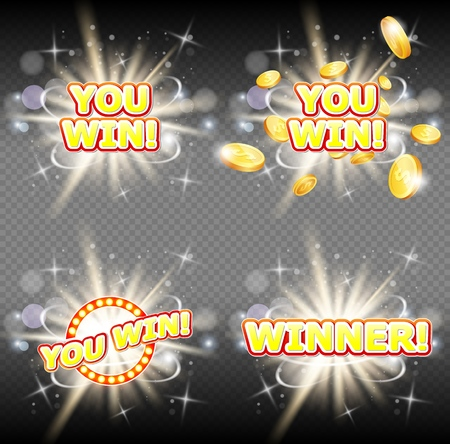 You win and winner congratulation banner set. Vector illustration on transparent background. Win casino signs with glowing lamps, golden dollar coins etc.  イラスト・ベクター素材