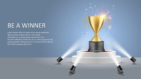 Business or sport competition winner poster web banner template. Vector illustration of white round podium with trophy award cup illuminated by floor spotlights.  イラスト・ベクター素材