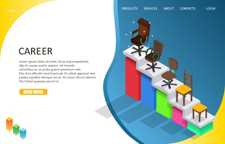 business career landing page website template vector isometric