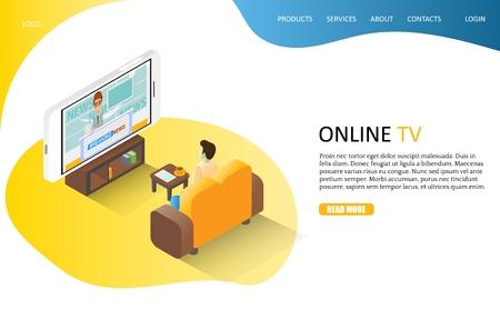 Online TV landing page website vector template Vectores