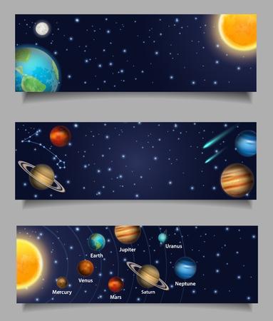 Sonnensystem-Vektor-Web-Banner-Vorlagensatz