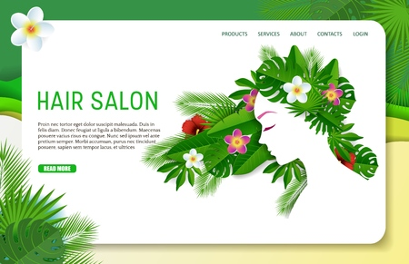 Vector paper cut hair salon landing page website template 向量圖像