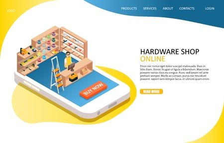 Hardware online shop landing page website vector template
