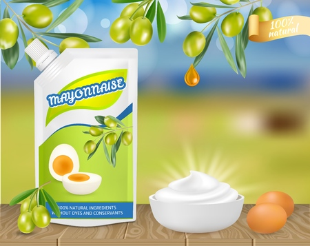 Natural olive mayonnaise ad. Vector realistic illustration of mayonnaise sauce in doypack plastic bag and in bowl, eggs, olives. Food product advertising poster, banner, flyer design template.