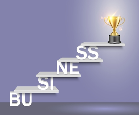 Business word ladder with trophy award cup on top. Vector realistic illustration. Business success concept for web, poster, banner.  イラスト・ベクター素材