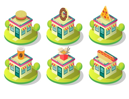 Public catering building icon set. Vector isometric illustration of different food establishments cafe, shop, restaurant buildings exterior view. Bakery burgers pizza coffee hotdogs and asian food.