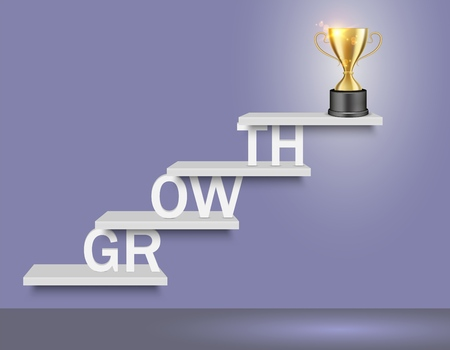 Growth word ladder with trophy award cup on top. Vector realistic illustration. Business success concept for web, poster, banner.