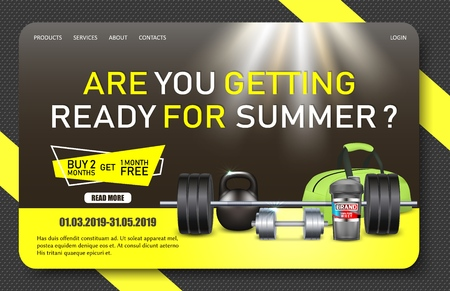 Gym promo landing page website vector template Иллюстрация