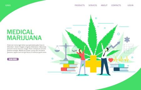 Medical marijuana landing page website template. Vector flat illustration. Medicinal cannabis therapy.