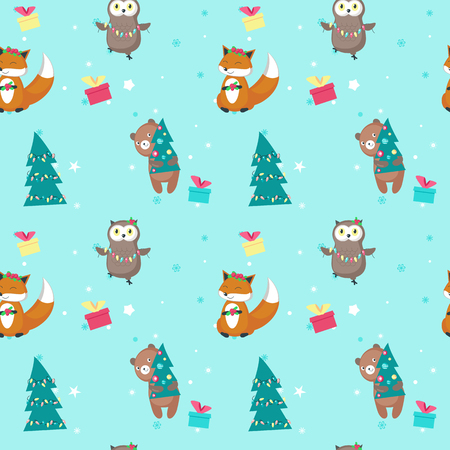 Vector seamless pattern with cute fox, bear, owl with xmas tree lights, holly berries wreath, gift boxes. Christmas animals background, wallpaper, fabric, wrapping paper.