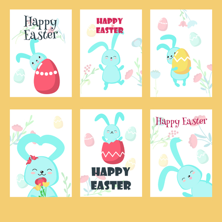 Vector set of greeting cards with Easter rabbits, paschal eggs, flowers and Happy Easter lettering. Spring holiday celebration poster design templates. Illustration