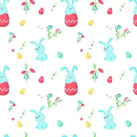 Vector seamless pattern with cute Easter rabbits sitting in paschal eggs and spring flowers. Easter holiday background, wallpaper, fabric, wrapping paper.