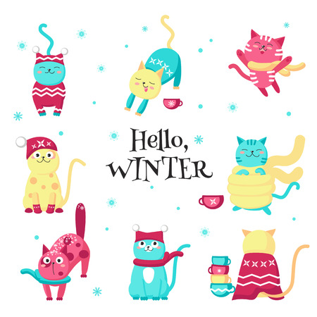 Winter cats. Vector illustration isolated on white background. Cute funny kittens wearing warm knitted hats, scarves and sweaters for greeting card, sticker, print.