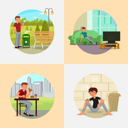 People with various addictions vector flat illustration
