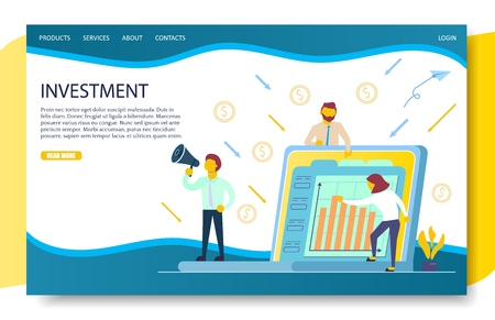 Business investment landing page website vector template Standard-Bild - 113728589