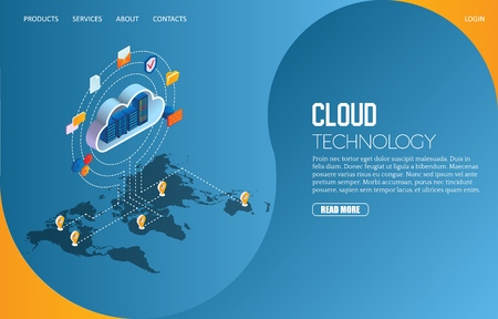 Cloud technology landing page website vector template