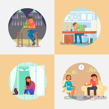 Depressed people. Vector flat illustration. Sad unhappy and lonely young men office worker and teenage girl having depression. Psychologist helping people with emotional problems.