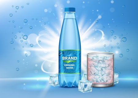 Pure drinking pure water ad vector realistic illustration