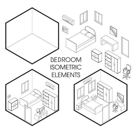 Bedroom interior creator vector isometric thin line elements