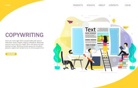 Modèle vectoriel de site Web de page de destination de blogs de rédaction