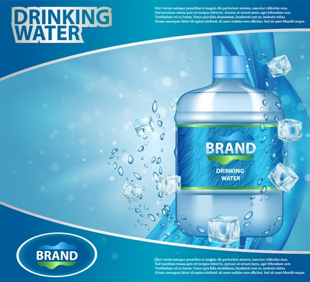 Drinking cooler water ad vector realistic illustration