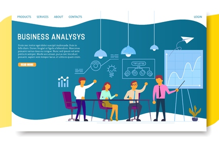 Business analysis landing page website vector template