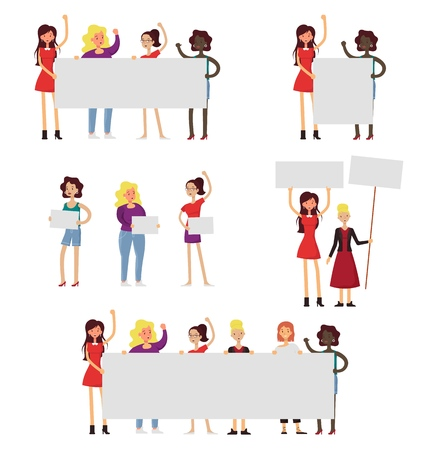 Girl power and feminism icon set. Vector flat illustration isolated on white background. Diverse group of women with arms raised, with signs and placards. Fight for women rights. Illustration