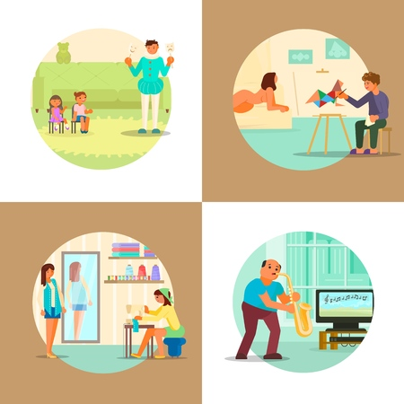 People enjoying their hobbies vector flat illustration. Amateur theater, playing saxophone, painting from model, sewing or custom tailoring. Music, arts and craft hobbies. Vektorové ilustrace