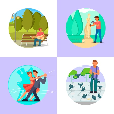 People enjoying their hobbies vector flat illustration. Guitar playing, sculpting, dancing, photography or video shooting. Music, arts and craft hobbies. Vettoriali