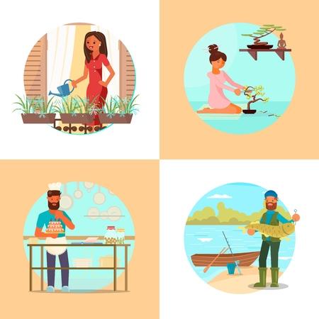 People enjoying their hobbies vector flat illustration, Flower gardening, bonsai, cake making and decorating or cooking, fishing hobbies. Ilustração