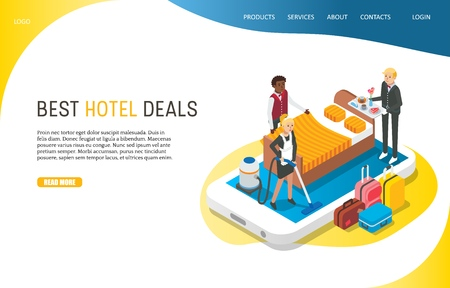 Meilleur modèle de vecteur pour le site Web de la page de destination des offres d'hôtel