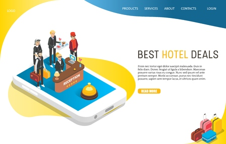 Best hotel deals landing page website vector template
