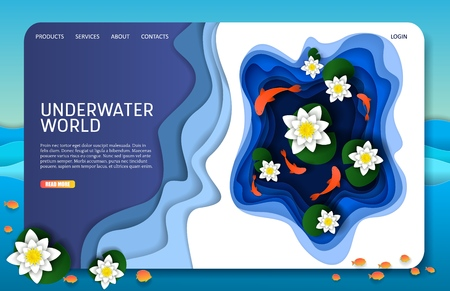 Vector paper cut underwater world landing page website template Illustration